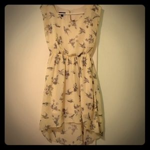 BCX cute yellow high-low dress bird pattern